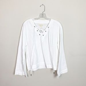 Anthropologie | bell sleeve lace up gauze blouse S